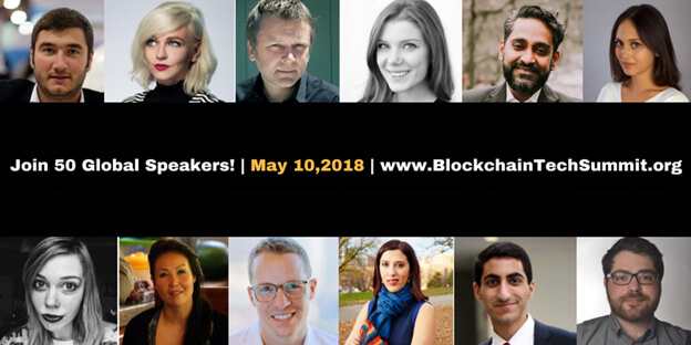 Victor Samuel speaks at the Blockchain Tech Summit 2018 in New York